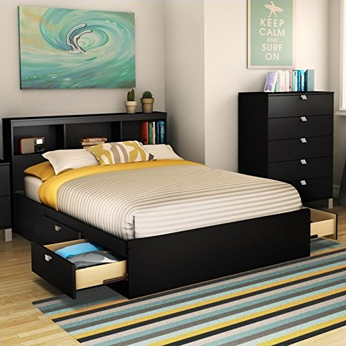South Shore Spark Full Mates Bed Pure Black