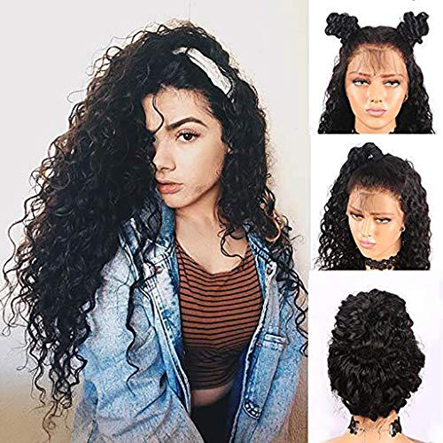 Women Long Curly Black Wig Brazilian Less Lace Front Hairpieces Natural Looking Wavy Synthetic Heat Resistant Full Wig for Costume Party Masquerade Cosplay (Black) ()