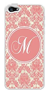 Initial M - Pink Damask Pattern Monogram Snap-On Cover Hard Plastic Case for iPhone 5/5S (White) by lolosakes