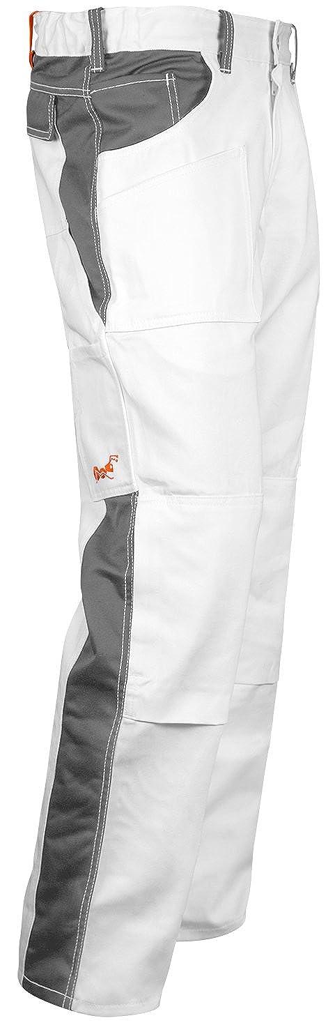 Malerhose Stuckateur Putzer Arbeitshose Weiß mit Kniepolstertaschen - Maleranzug Made in EU - 100% BW 260 gm - Kermen