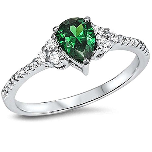 Blue Apple Co. Teardrop Accent Wedding Ring Pear Shape Simulated Green Emerald Round CZ 925 Sterling Silver