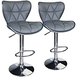 Leopard Shell Back Adjustable Swivel Bar Stools, PU Leather Padded with Back,Set of 2,Grey