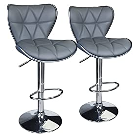 Leopard Shell Back Adjustable Swivel Bar Stools, PU Leather Padded with Back, Set of 2