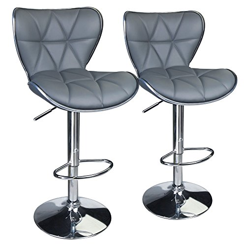 Adjustable Bar Set - Leopard Shell Back Adjustable Swivel Bar Stools, PU Leather Padded with Back,Set of 2,Grey