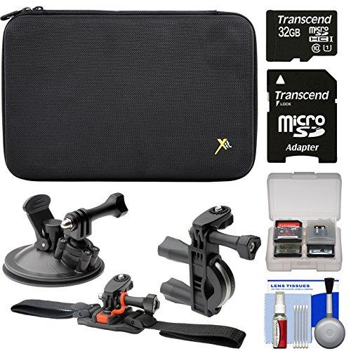 Xit Premium Custom Removable Foam Case (Large) + 32GB Card + ATV/Bike Handlebar, Vented Helmet & Suction Cup Mounts Kit for GoPro HERO 2, 3, 3+, 4 Camera