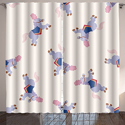 Analisahome circus animal cartoon seamless pattern background Bedroom/Living Room/2 Panels by Analisahome