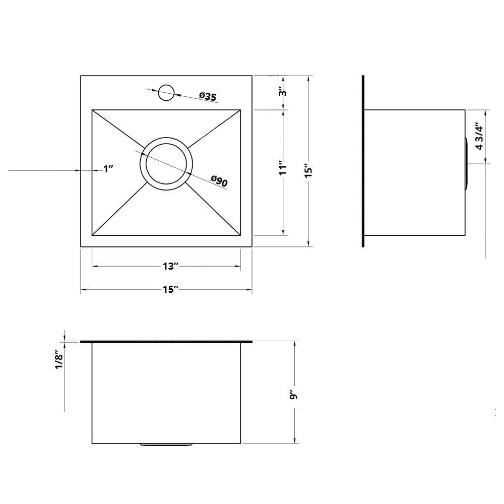 Ruvati 15 x 15 inch Drop-in Topmount Bar Prep Sink 16 Gauge Stainless Steel Single Bowl - RVH8115 by Ruvati (Image #6)