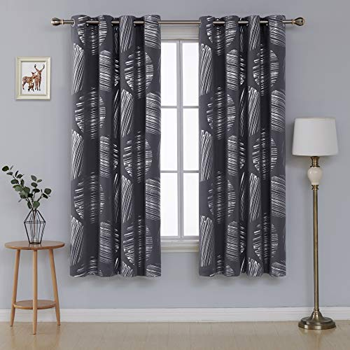 - Deconovo Thermal Insulated Curtains Blackout Curtains Grommet Curtain Panels Foil Printed Drapes for Kitchen 52 x 72 Inch Dark Gray 2 Panels