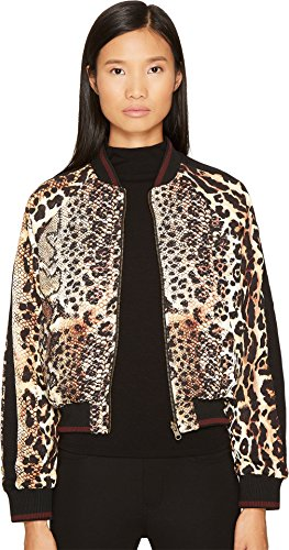 Just Cavalli Women's Mixed Animal Print Bomber Jacket Natural Outerwear