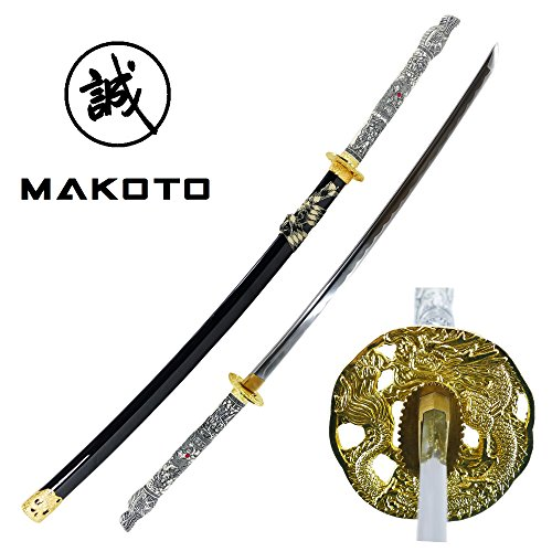 "Makoto Handmade Sharp Japanese Katana Samurai Sword 42"" Full Size Black - Detailed Dragon Head Handle (White Handle)"