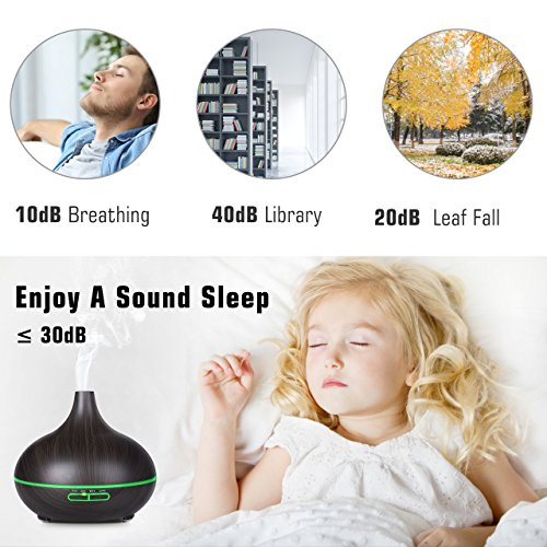 Large Product Image of VicTsing 300ml Essential Oil Diffuser, Wood Grain Ultrasonic Aroma Cool Mist Humidifier for Office Home Bedroom Baby Room Study Yoga Spa(Deep Brown)