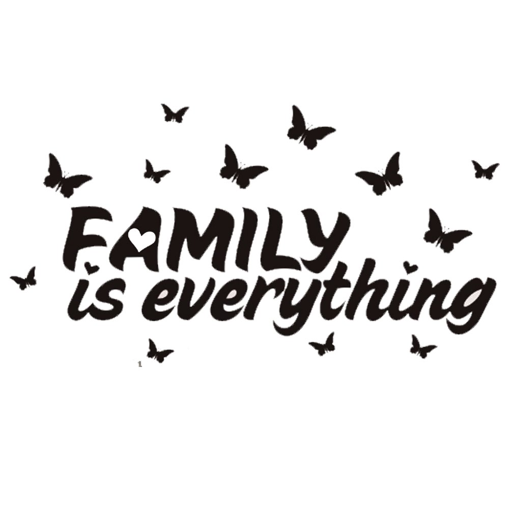 CDKJ Arte Adesivi murali, Decalcomanie murali-Sticker murale 57 * 20cm Farfalla con Lettere Family is Everything per casa Camera da Letto Ufficio, Carta da Parati per Ragazzi e Ragazze