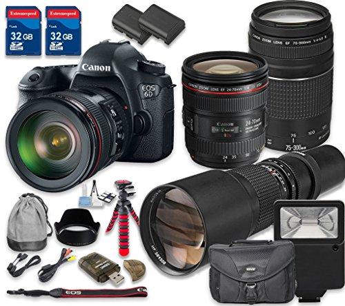 Canon-EOS-6D-Digital-SLR-Camera-with-Canon-EF-24-70mm-f4L-IS-USM-Lens-Canon-EF-75-300mm-f4-56-III-Lens-500mm-f8-Telephoto-T-Mount-Lens-International-Model