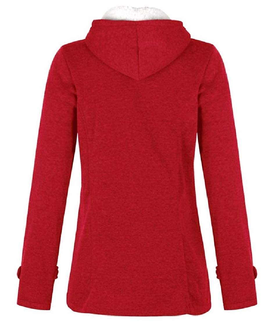 YUNY Womens Over Sized Hood Pocketed Plus Velvet Stylish Thickened Outwear Coat Red 2XL