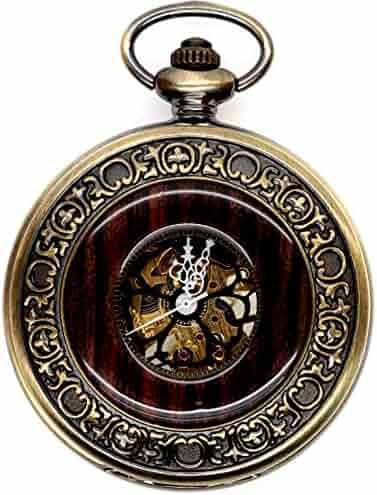 Men's Vintage Wood Grain Hollow Selfwind Steampunk Chain Mechanical Pocket Watch Gift Box