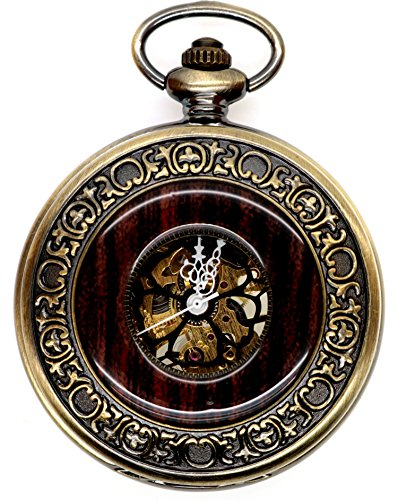 Steampunk Vintage Mechanical Skeleton Hunter Roman Letters Pocket Watch + Chains As Xmas Gift (brzone)