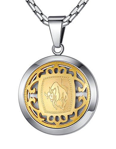 (Stainless Steel Taurus Zodiac Horoscope Sign Pendant Necklace, Unisex, 21