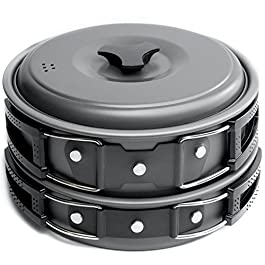 MalloMe Camping Cookware Mess Kit Backpacking Gear & Hiking Outdoors Bug Out Bag Cooking Equipment Cookset | Lightweight, Compact, Durable Pot Pan Bowls (Black 2L 10 pc)