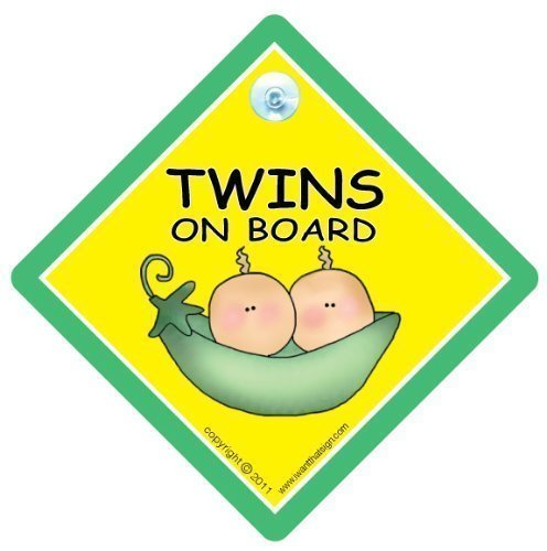 BABY iwantthatsign.com Twins On Board, Twins On Board Car Sign, Peapod, Unisex Unisex Baby Safety Sign, Baby Car Sign