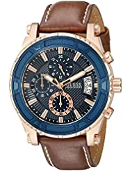 GUESS Mens Stainless Steel Casual Leather Watch, Color: Rose Gold-Tone/Brown (Model: U0673G3)