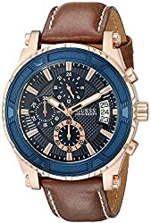 GUESS Men's U0673G3 Sporty Rose Gold-Tone Stainless Steel Watch with Chronograph Dial and Brown Strap Buckle