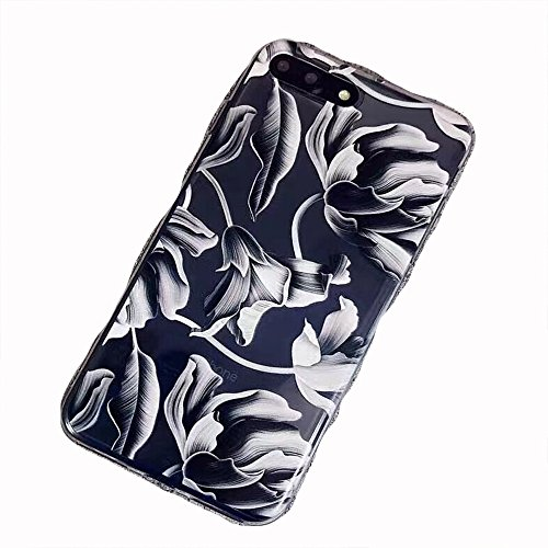 iPhone x Case,Girls Cute Bahama Leaves Love Black White Floral Bahama Leaves Aloha Summer Tropical Colored Vintage Flowers Cherry Blossom Roses Case for Women Clear Soft Case Cover for iPhone X