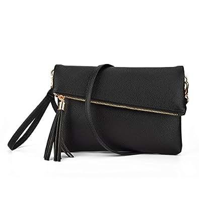 Jiaruo Girls Tassel Fold Cover Sling Leather Crossbody Bag Handbag Purse (black)