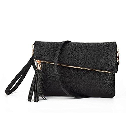 Jiaruo Girls Tassel Fold Cover Sling Leather Crossbody Bag Handbag Purse (black) -