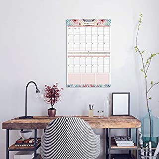 "2020 Large Wall Calendar - Large Print 2020 Wall Calendar with Colored Pattern, 12"" x 23"", Jan 2020 - Dec 2020, Big Grid Wall Calendar Organized with to do List, Extra Pocket & Sticky Pen Holder"