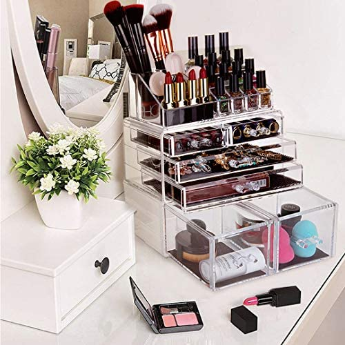 HBlife Makeup Organizer 3 Pieces Acrylic Cosmetic Storage Drawers and Jewelry Display Box, Clear