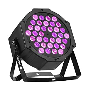 AIHIKO Black Light 36 UV LEDs DJ Up Lighting Controlled by IR Remote and DMX for Halloween Christmas Disco Stage Party Wall Washer and Par Can Lamp