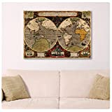 "Alonline Art - Antique Old Vintage V2 World Map Synthetic CANVAS Not framed +GIFT 34""x24"" - 86x61cm Prints Paintings Wall Art Posters Paints Pictures Giclee Wall Decor"