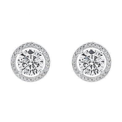 c798c7a26 Robert Matthew Sofia 18k White Gold Stud Earrings, Large Round Cut CZ Halo  Stud Earring