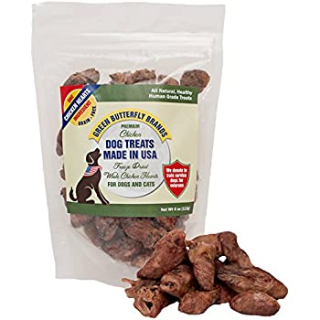 Green Butterfly Brands Freeze Dried Whole Chicken Hearts for Dog and Cats –  1 Ingredient Premium Chicken Dog Treats – Made in USA Only – All