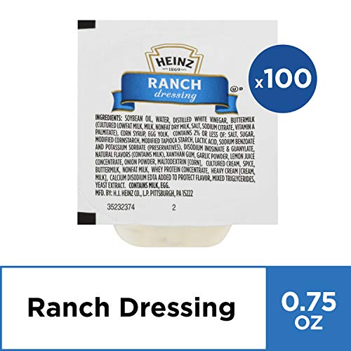 Heinz Ranch Dressing (0.75 oz Packets, Pack of 100) (Best Ranch Dipping Sauce)