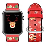 top4cus Genuine Leather Silicone iwatch Strap Replacement Band Stainless Metal Clasp, Compatible Apple Watch Series4 Series3 Series2 Series1 and Sport Edition (Red, 38mm)
