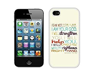 Custom Apple Iphone 4s Case Durable Soft Silicone PC Bible Verse God Is With You Designer Cell Phone White Cover Accessories for Iphone 4