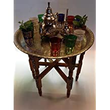 Vintage Moroccan Tea Table and Serving Teapot and Glasses Set