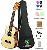 MELODIC Spruce Soprano Mahogany Ukulele 21 inch Ukulele Set With Gig Bag , Capo, Polishing Cloths, Decals Fingerboard, Strings (Spruce)