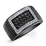 Victoria Kay Sterling Silver with Black Rhodium Men's Black and White Diamond Ring (7/8cttw) Size 10