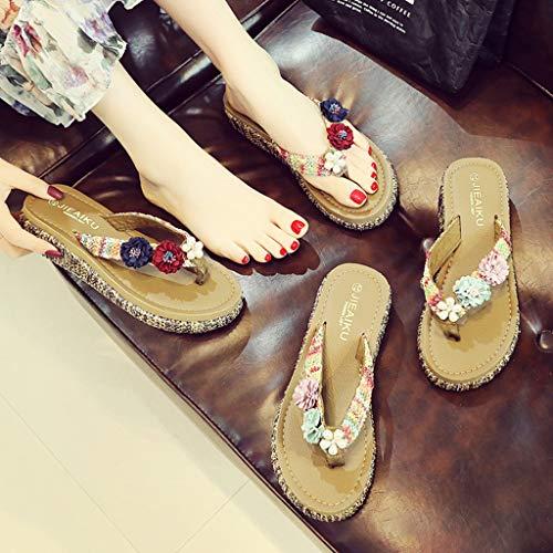 Zapatillas Sandalias Compras Playa Abierta Punta Plataforma Elegantes Cómodas Princesa Con Cuñas Flip Viajes De Casa flop Zapatos Vino Mujer Flores Verano Moda fRzTWrf