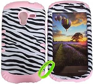 Cellphone Trendz (TM) Leather Zebra on Light Pink Silicone 2 in 1 Hybrid Rocker High Impact Bumper Case for Samsung Galaxy Exhibit T599 + Free Wristband Accessory - Cellphone Trendz (TM)