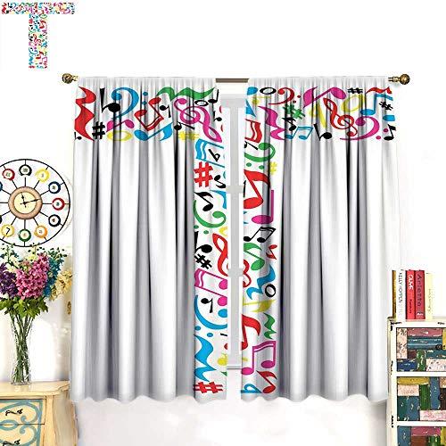 WinfreyDecor Letter T Drapes for Living Room Uppercase T Letter Colorful Sheet Music Elements Font Alphabet Design Art StyleBlackout curtainMulticolor. W72 x L45