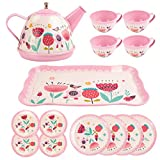 UNIH Kids Tea Set 15 Pcs Pink Tin Tea Party Set for