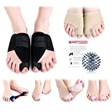 Bunion Corrector & Relief Kit-12 PCs-Adjustable Bunion Splints, Bunion Protective Sleeves, Toe Separators, Exercise Strap & Spiky Massage Ball-Pain Relief in Hallux Valgus, Hammer Toe & Tailor Bunion