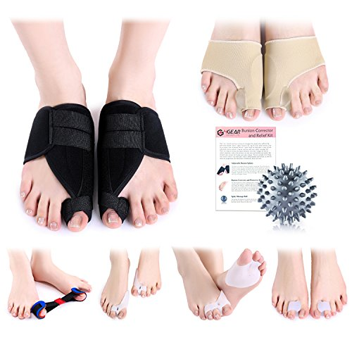 Bunion Corrector & Relief Kit-12 Pack-Adjustable Bunion Splints, Bunion Protective Sleeves, Toe Separators, Exercise Strap & Spiky Massage ball-Pain Relief in Hallux Valgus, Hammer Toe & Tailor Bunion