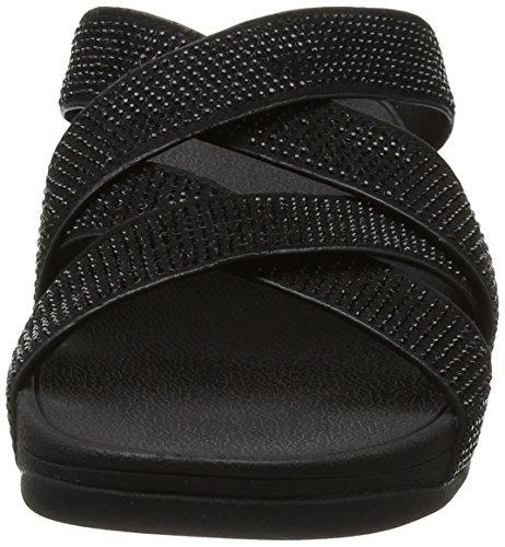 Fitflop Slinky Rokkit Criss-cross Slide - Sandalias con tacón Mujer Black (All Black)