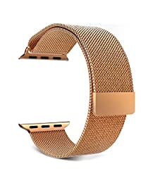Apple Watch Band Series 1 Series 2, MoKo Milanese Loop Mesh Stainless Steel Smart Watch Strap for iWatch 38mm All Models with Unique Magnet Lock, No Buckle Needed - Brass GOLD (Not Fit iWatch 42mm)