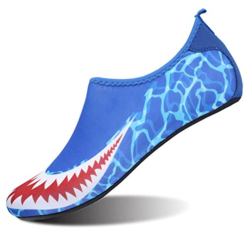 FEETCITY Mens Swim Shoe Womens Fitness Shoes Barefoot Water Footwear Sneakers Shark Blues(W:5.5-6.5,M:4-5)