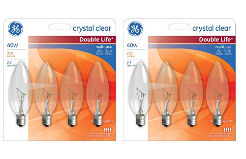 GE Decorative Light Bulb Blunt Tip 40W, 250 Lumens, Candelabra Base; Crystal Clear 2500K (2 Pack)